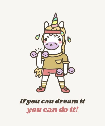 Unicorn T-Shirt Design Template with a Funny and Cute Illustration 1817