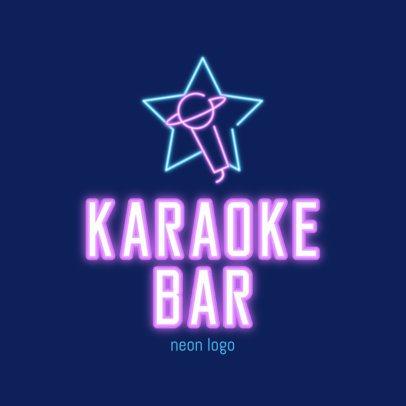 Karaoke Bar Logo Template with a Neon Microphone Silhouette 2413b