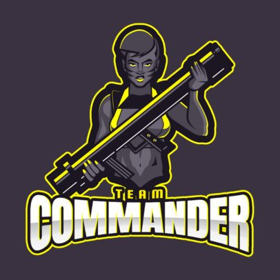 Team Logo Maker with a Female Commander Character Illustration 2449d