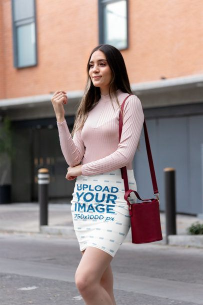 Pencil Skirt Mockup of a Woman on the Street 28670