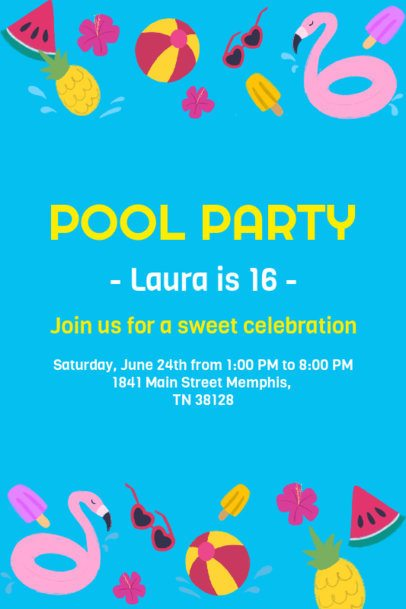 Invitation Design Template for a Pool Party 1685h