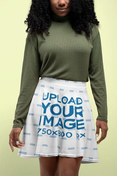 Customizable Skater Skirt Mockup Featuring a Woman at a Studio 28652