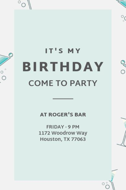 Birthday Invitation Maker Featuring Cocktail Glass Illustrations 1684a