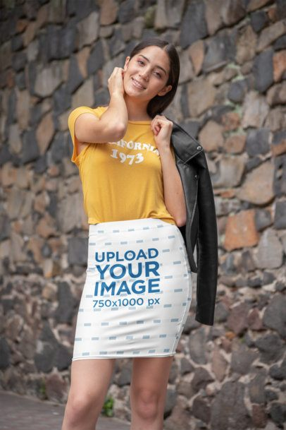 Pencil Skirt Mockup of a Woman Posing Against a Stone Wall 28673