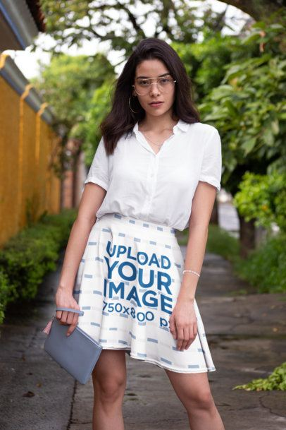 Mockup of a Trendy Young Woman Wearing a Skater Skirt 28663