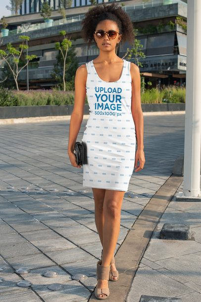 Racerback Dress Mockup of a Woman Walking Down the Street 28776