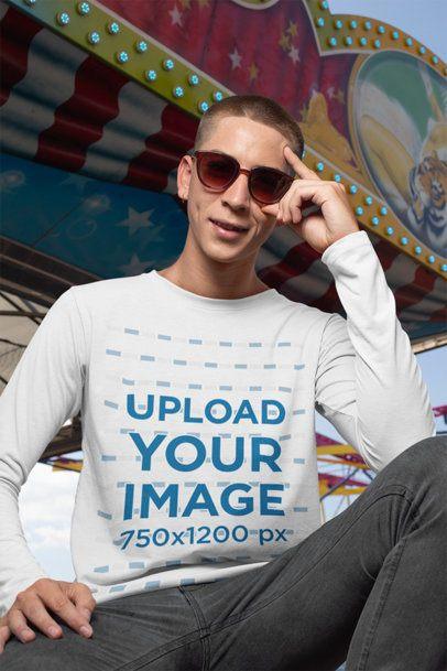 Long Sleeve T-Shirt Mockup Featuring a Man at a Fair 29037