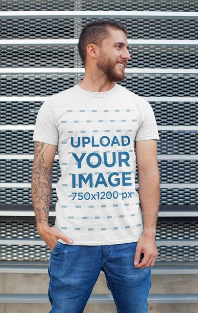 Heathered T-Shirt Mockup of a Tattooed Man Posing 28615