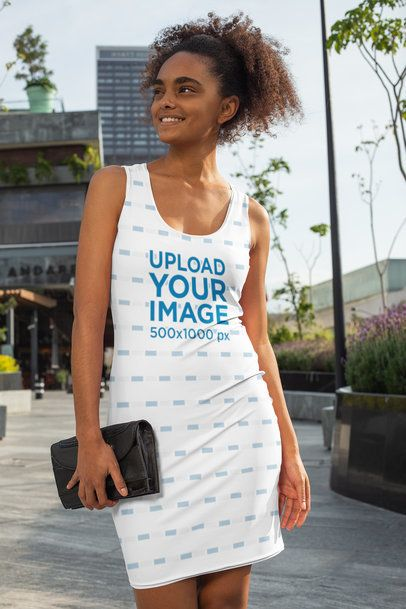 Mockup of a Woman Wearing a Racerback Dress in the City 28778