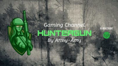 Fortnite-Related YouTube Banner Template with a Female Soldier 1735c