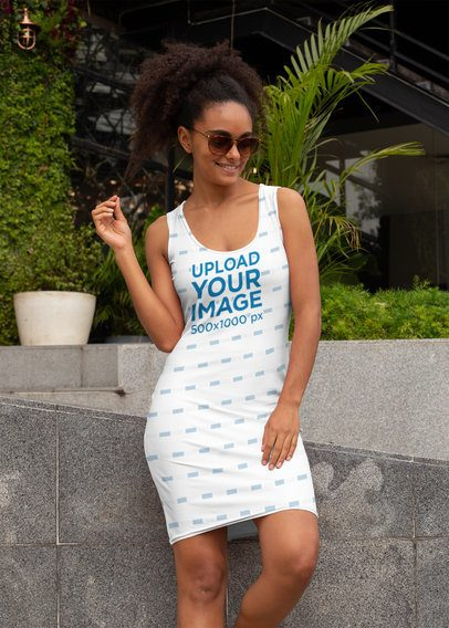 Racerback Dress Mockup Featuring a Fabulous Woman with a Kinky Ponytail 28783