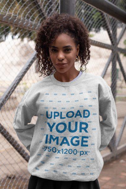 Mockup of a Woman Wearing a Customizable Crewneck Sweatshirt 28643