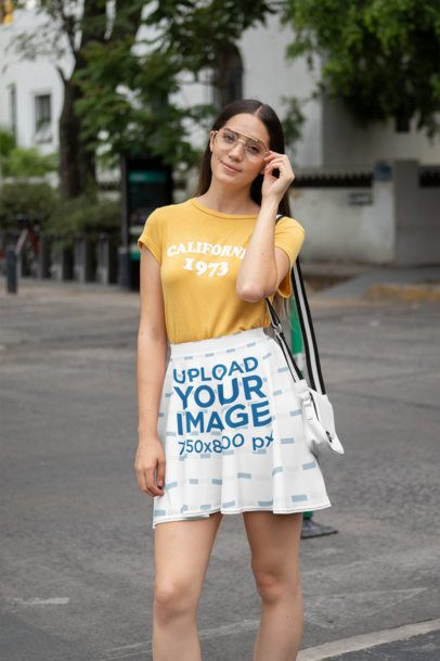 Skater Skirt Mockup of a Woman With Glasses Walking Down the Street 28672