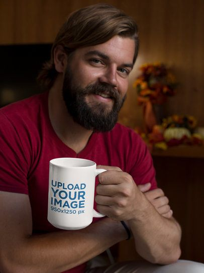15 oz Mug Mockup Featuring a Bearded Man in a Cozy Room With Fall Decorations 29156