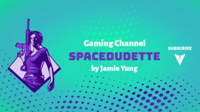 YouTube Banner Template Inspired by Fortnite Featuring a Female Character 1735b