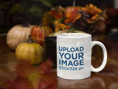 11 oz Coffee Mug Mockup in a Fall-Decorated Scenario with Pumpkins 29158