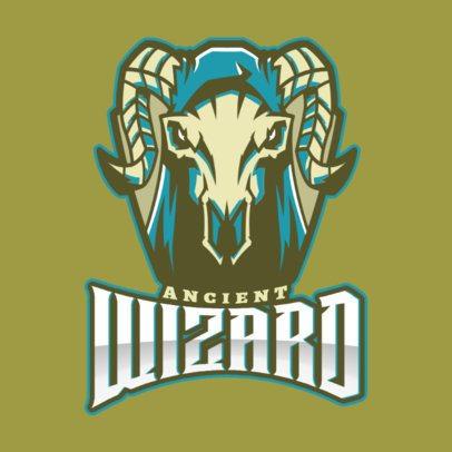 Gaming Logo Template Featuring a Bighorn Sheep Skull Illustration 2499bb