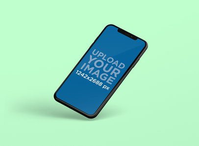 Mockup of an iPhone XS Max Floating Diagonally in a Plain Color Backdrop 248-el