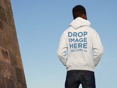 Back of a Black Man Wearing a Hoodie Mockup Outdoors a9285b