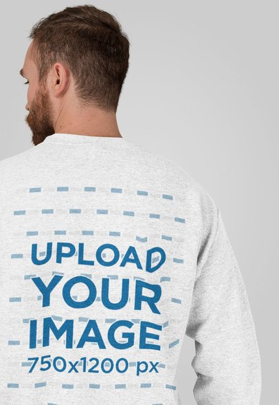 Back View Heathered Sweatshirt Mockup Featuring a Bearded Man at a Studio 28746