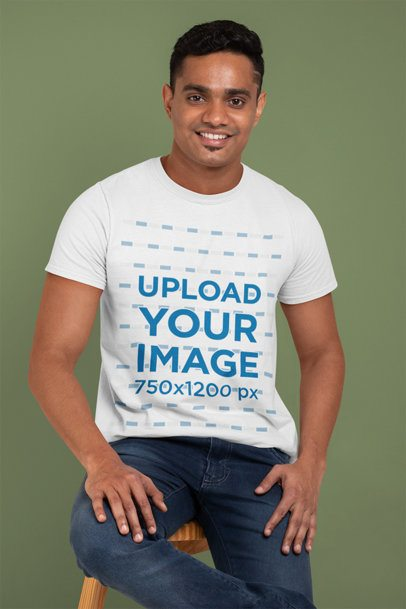 Crew Neck T-Shirt Mockup of a Man Smiling at a Studio 28953
