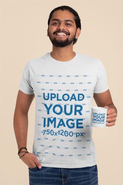 T-Shirt Mockup of a Smiling Man Holding an 11 oz Mug 29114