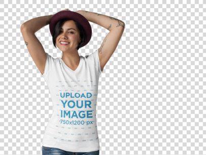 T-Shirt Mockup of a Hipster Woman at a Photo Studio a10141
