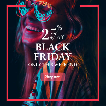 Black Friday Discount Banner Maker with Neon Graphics 362i-1783
