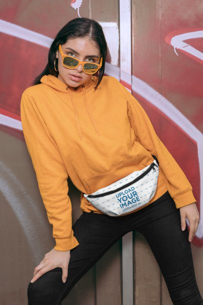 Mockup of a Trendy Woman in an Urban Scenario Wearing a Fanny Pack 29199