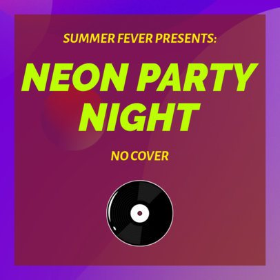 Musician Instagram Post Template for a Neon Party Night 1774d