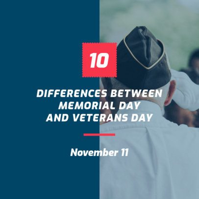 Social Media Post Maker for a 10 Differences Between Memorial and Veterans Day 631f 1801