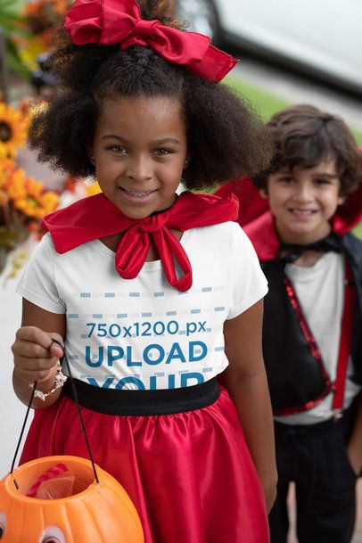Mockup of a Girl Wearing a T-Shirt and Trick-or-Treating 29291