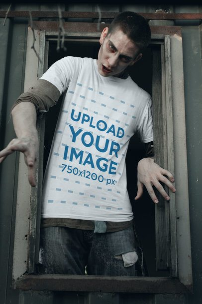 T-Shirt Mockup of a Zombie Coming out from a Window 29340
