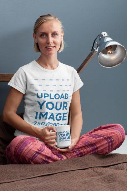 15 oz Mug Mockup of a Woman Wearing a T-Shirt and Pajama Pants 29275