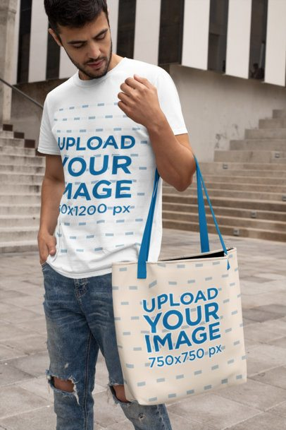 Mockup of a Man with a Crewneck T-Shirt Carrying a Sublimated Tote Bag 29409