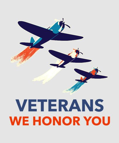 T-Shirt Design Creator for Veterans Day Featuring Military Planes 1814b