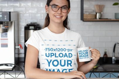 T-Shirt Mockup of a Woman with an 11 oz Mug in the Kitchen 29288