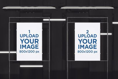 Mockup of Two Exhibition Posters Displayed on Metal Structures 630-el