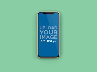 Mockup of an iPhone 11 Placed Centered in a Custom-Color Backdrop 231-el
