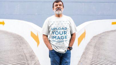 T-Shirt Video of a Senior Man Posing in a Parking Lot 12767