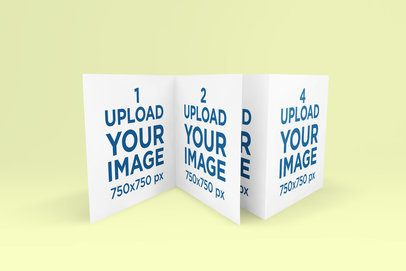 Mockup Featuring Two Square Greeting Cards Standing Against a Colored Background 271-el