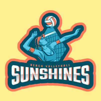 Sports Logo Template for a Women's Beach Volleyball Team 2601a