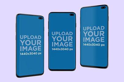Mockup Featuring Three Samsung Galaxy S10 Floating Against a Plain Background 568-el
