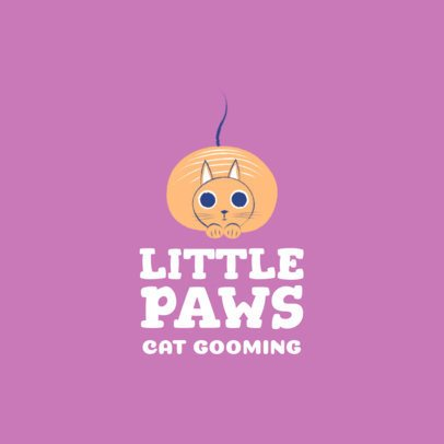 Pet Grooming Logo Maker Featuring a Fluffy Cat 2582d