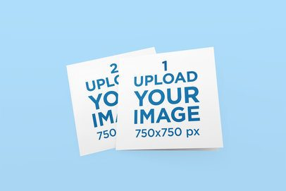 Mockups Featuring Two Greeting Cards Lying on a Solid Color Surface 272-el