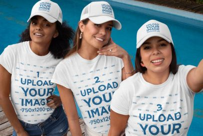 Shirt Mockup Featuring Three Women in a Bachelorette Party Wearing Matching Trucker Hats 29682
