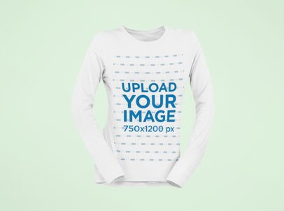 Mockup of a Ghosted Long Sleeve Tee Floating Against a Customizable Background 29401