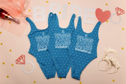 Mockup of Three Swimsuits for Bridesmaids 29572
