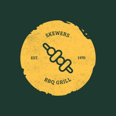 Grill Restaurant Logo Maker with a Graphic of a Brochette 1185g-el-45