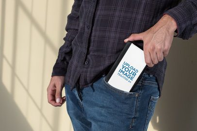 Mockup of a Man Putting a Wallet Case for iPhone 8 Plus in His Pocket 29829
